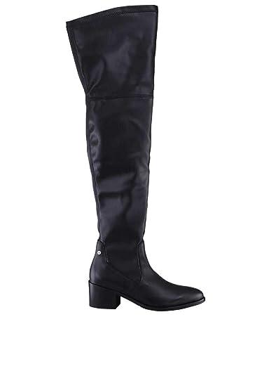 c5996057003b63 Tommy Hilfiger Stiefel Leder Overknee Reißverschluss schwarz  Amazon ...