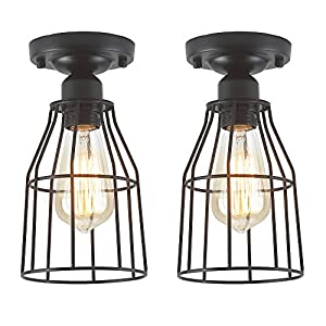 ZZ Joakoah 2 Pack Industrial Rustic Semi Flush Mount Ceiling Light, Metal Cage E26 Vintage Pendant Lighting Lamp Fixture for Hallway Stairway Foyer Kitchen Garage Porch Entryway.
