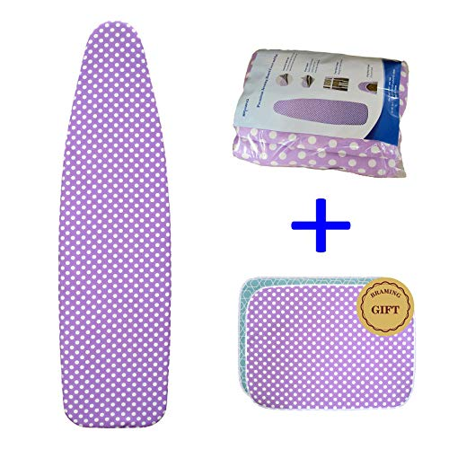 BRAMING 53-54 Inch Ironing Board Cover and Pad -Resists Staining Ironing Board Cover with Ironing Mat, Generous Size Tailored to Fit 13-15 Inch Wide of Boards (Board Ironing Fit Cover)