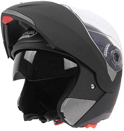 Zhixx Mall Cool Motorradhelm Klapphelm Integralhelm Sonnenschutz Roller Sturz Helm Double Lens Helm Matt Schwarz Xl Auto