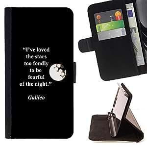 QUOTE MOON STARS GALILEO GALILEI QUOTE/ Personalizada del estilo del dise???¡Ào de la PU Caso de encargo del cuero del tir????n del soporte d - Cao - For Samsung Galaxy S4 IV I9500
