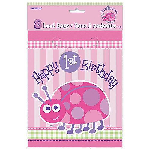 First Birthday Loot Bags (Ladybug 1st Birthday Goodie Bags, 8ct)
