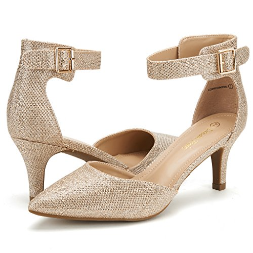 DREAM PAIRS Women's Lowpointed Gold Glitter Low Heel Dress Pump Shoes - 8 M US