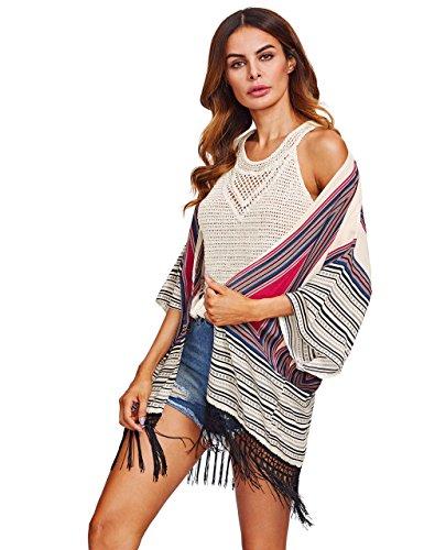 SweatyRocks Women's Fringe Kimono Cardigan Beach Swimwear Cover Up One Size