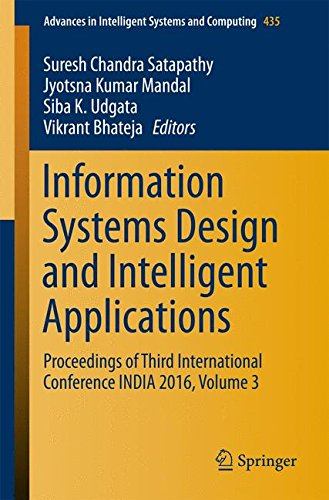 Information Systems Design and Intelligent Applications, Volume 3 Front Cover
