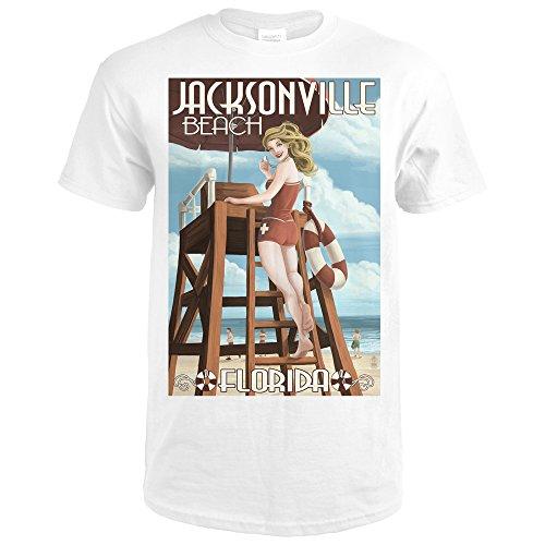Jacksonville Beach, Florida - Lifeguard Pinup Girl (Premium White T-Shirt - Park Jacksonville Kids