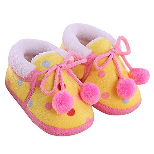 Happy Cherry – Chaussures de neige/ Chaussures souple antidérapantes chaude en hiver Chaussons velours corail mixte enfant bébé 9-12 mois – Jaune