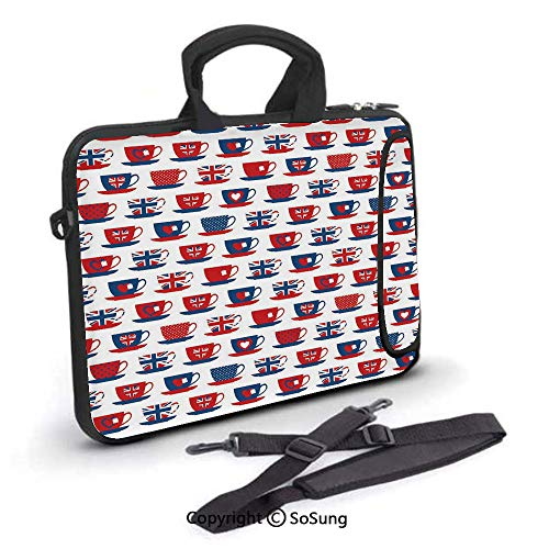 12 inch Laptop Case,Great Britain Themed Teacup Forms Patterned Union Jack Hearts Flags Decorative Neoprene Laptop Shoulder Bag Sleeve Case with Handle and Carrying & External Side Pocket,for Netbook/