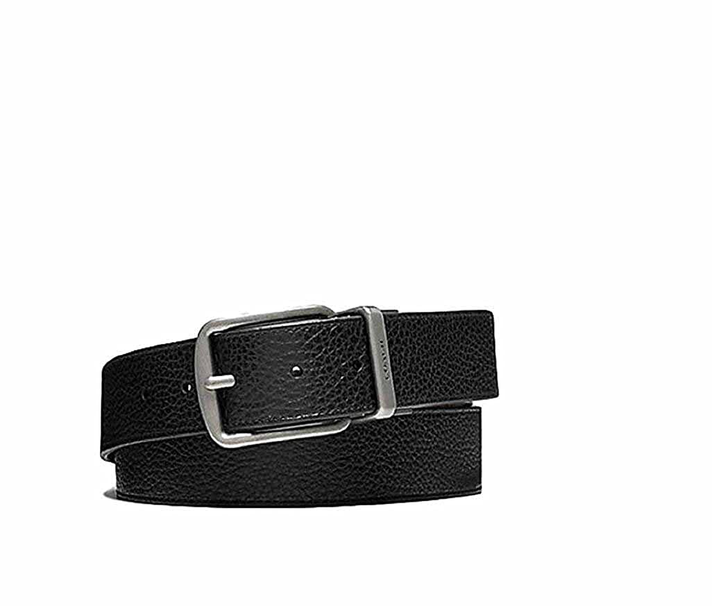 ee9b112d68 COACH BELT WIDE HARNESS CUT-TO-SIZE REVERSIBLE PEBBLE LEATHER BLACK/BROWN