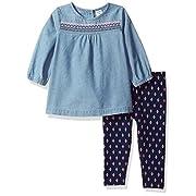 Carter's Baby Girls' 2 Piece Playwear Sets, Demin Embroidered, 3 Months
