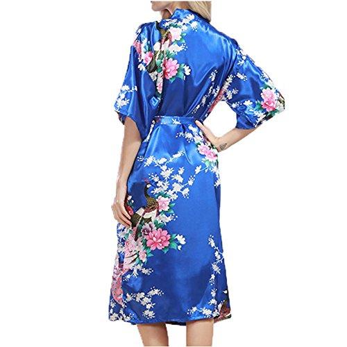 YUYU Vestidos de noche Mujeres Verano Traje de baño Camisón Seda Suave Pijamas Una variedad de colores a elegir , treasure blue , xl