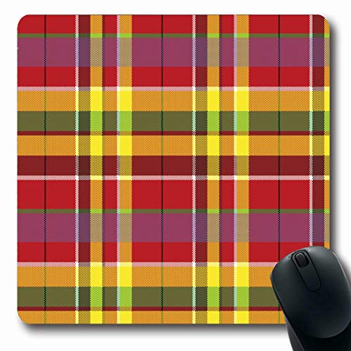 Ahawoso Mousepad Oblong 7.9x9.8 Inches Scottish Green Plaid Summer Madras Check Graphic Red Abstract Britain Celtic Checkered Clan Office Computer Laptop Notebook Mouse Pad,Non-Slip Rubber ()