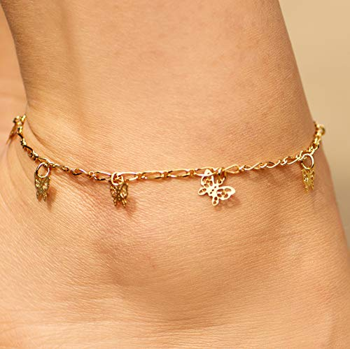 Lifetime Jewelry 24k Gold Plated Butterfly Ankle Bracelet to Wear at Party or Beach for Women and Teen Girls - Cute Durable Anklet - 9 10 and 11 inches - Made in USA (11.0) by Lifetime Jewelry (Image #3)