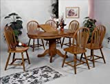 Brand New 7-pc Farm House Pedestal Base Dining Table (with 15'' Leaf) and 6 Dining Side Chair Set-Dark Oak Finish