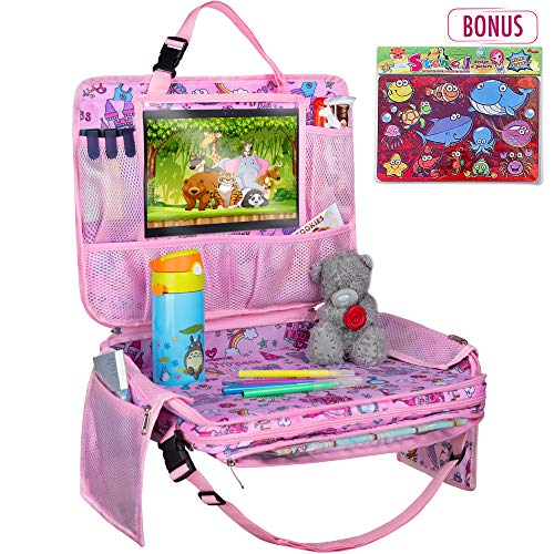 Kids Travel Tray  Detachable Top 4in1 Car Organizer w Tablet Holder  Play Snack Lap Table  On The Go Activity Desk for Children Toddlers  Backseat Storage  Stroller Accessories w Extra Bonus