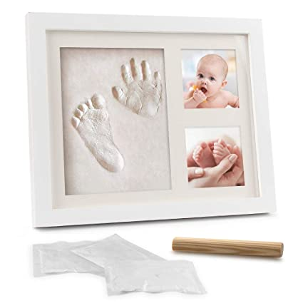 Samione Marco de Fotos para Bebé, DIY Bebé Recién Nacido Handprint y Marco de Huella