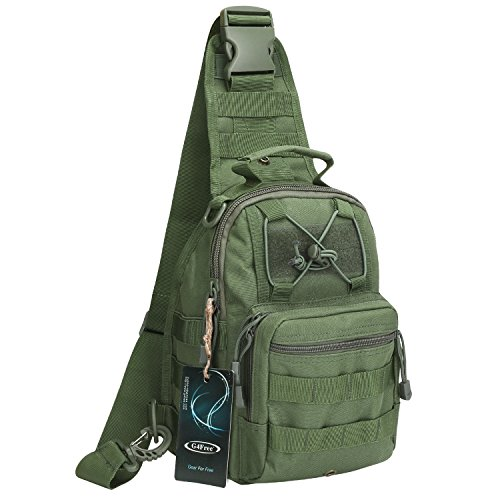 G4Free Outdoor Tactical Backpack, Military Sport Pack Shoulder Backpack for Camping, Hiking, Trekking,Rover Sling Pack Chest Pack(Army Green) -