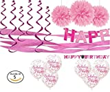 Pink birthday kit WITH pink birthday accessories bundle. Pink birthday supplies include birthday banner and other pink birthday wall decoration, birthday balloons, and more pink birthday favors.