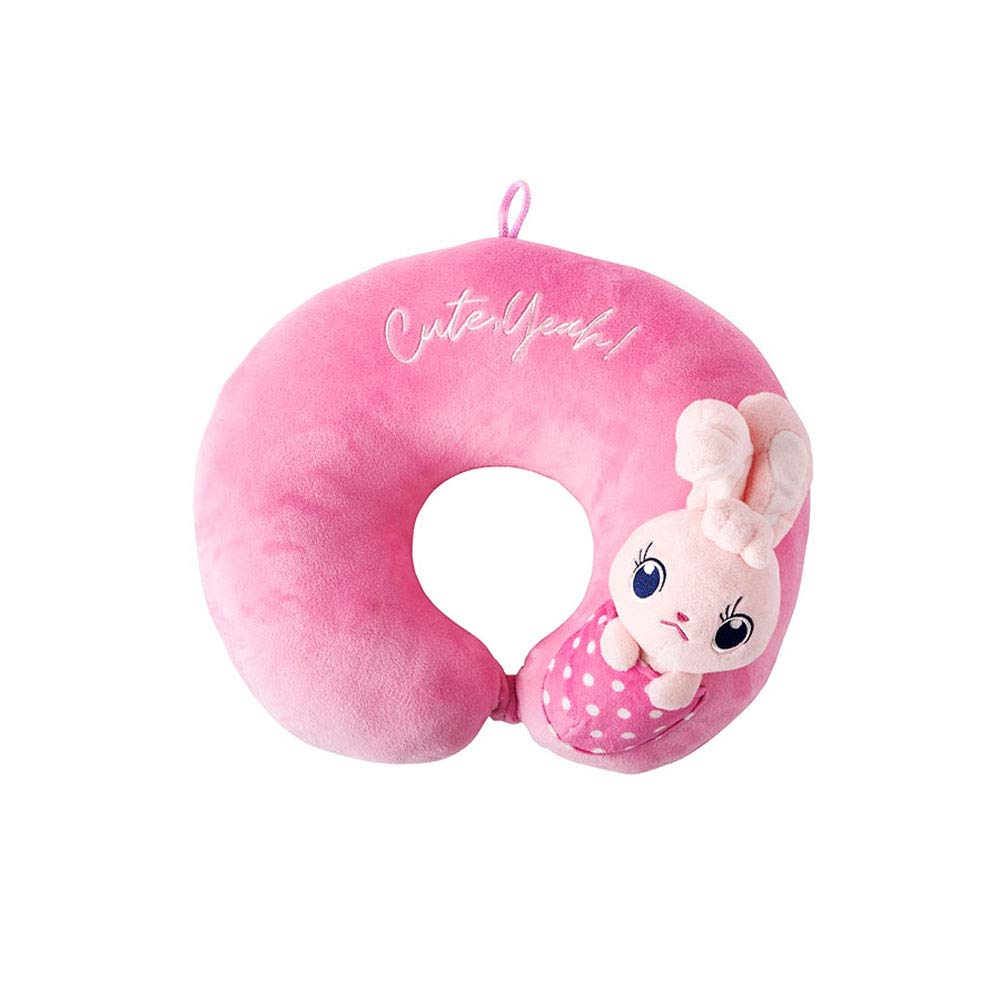 Best Ever Korea Chin Supporting Travel Neck Pillow Soft Neck Head Chin Support Pillow Cute Zoo Animal Plush Cushion (Pink, Rabbit)