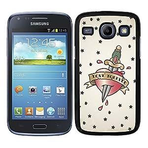 Funda carcasa para Samsung Galaxy Core diseño tattoo corazón con daga Love forever borde negro