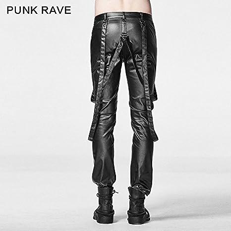 c6cb80907876 Punk Rave Herren Stretch Enge Skinny Leather Look Hose Gothic Schwarz  Schlank Hose Chaparajos  Amazon.de  Bekleidung