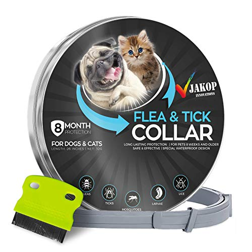 JAKOP Innovations Flea and Tick Collar for Dogs and Cats with Flea Comb - Safe and Effective - Adjustable Waterproof Design - 8 Month Protection - for Small, Medium, Large Dog's - Natural Ingredients