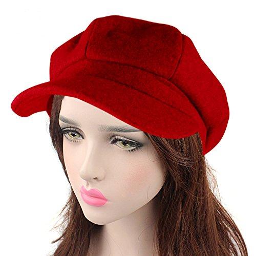 Wool Beret Hat (HowYouth Vintage Cabbie Beret Cap Newsboy Peaked Winter Cap Unisex Hat (Red))