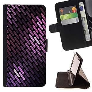 BullDog Case - FOR/Samsung Galaxy S6 EDGE / - / purple colors lines pattern black scales /- Monedero de cuero de la PU Llevar cubierta de la caja con el ID Credit Card Slots Flip funda de cuer