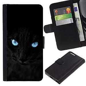 """Apple (5.5 inches!!!) iPhone 6+ Plus , la tarjeta de Crédito Slots PU Funda de cuero Monedero caso cubierta de piel ("""" Black Siamese Cat Panther Eyes Pet Feline"""")"""