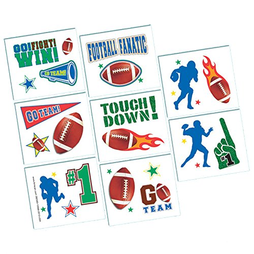 [Amscan Football Frenzy Birthday Party Tattoo (16 Pack), Multi Color, 9.2 x 4.2