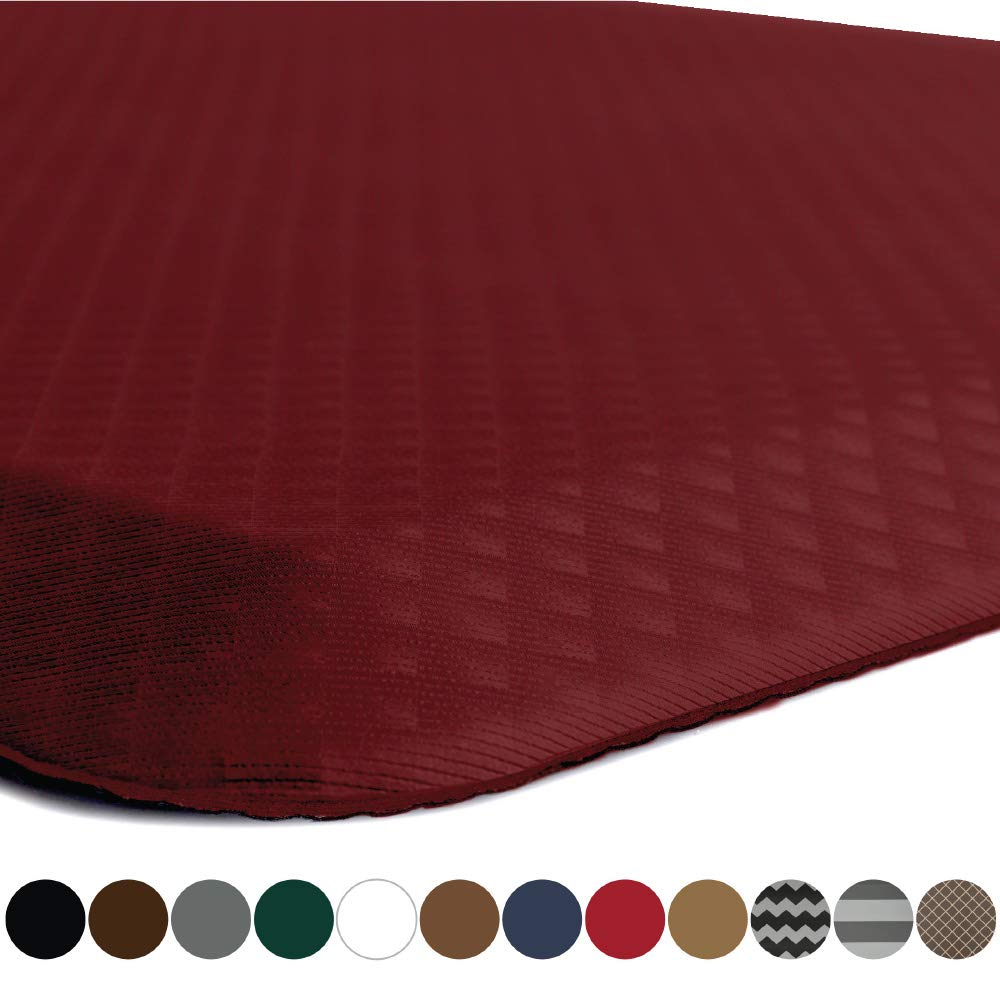 "Kangaroo Brands Original 3/4"" Anti-Fatigue Comfort Standing Mat Kitchen Rug (Half Circle) Phthalate Free Mats, Non-Toxic, Waterproof, Ergonomical Floor Pad, Rugs for Office Stand Up Desk (Red)"