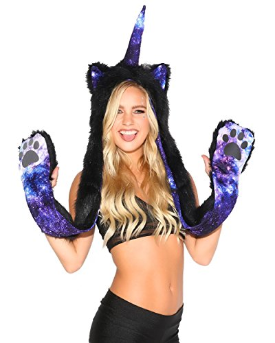 iHeartRaves Unicorn Rave Spirit Fluffy Furry Hood (Galaxy Stardust)