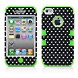 iPhone 4S Case, iPhone 4 Case, MagicMobile Hybrid Impact Shockproof Cover Hard Armor Shell and Soft Skin Layer [ Hearts Design Black Pattern - Silicone Color Green]