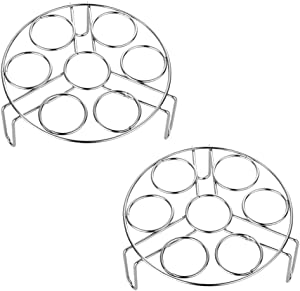 304 Stainless Steel Egg Steamer rack Color Me Kitchen Steamer Rack for Instant Pot Stainless Steel Egg Rack Trivet Steaming Tray Air Fryer Pressure Cooker Accessories, Dishwasher Safe(2 PCS)(Silver)
