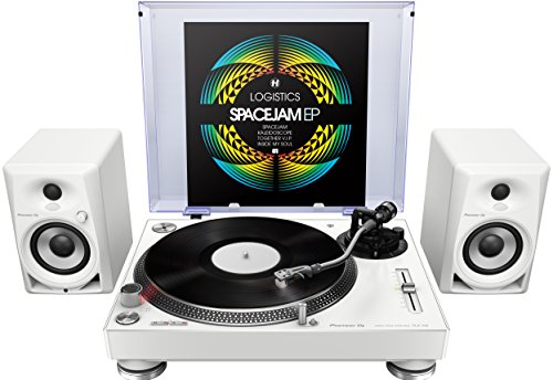 Pioneer PLX-500-W Direct Drive Turntable - White Bundle with DM-40 4-Inch Active Monitors