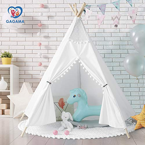 GAGAMA Teepee Tent for Girls Room with Lace, Children Indian Play Tent 5 Wooden Poles 100% Cotton Tipi White with Mat for Indoor -