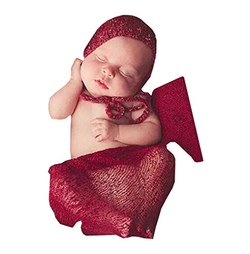 [Newborn Baby Crochet Knit Costume Photography Prop Outfits Stretch Wrap Blanket (Wine Red)] (Kitty Newborn Baby Costumes)