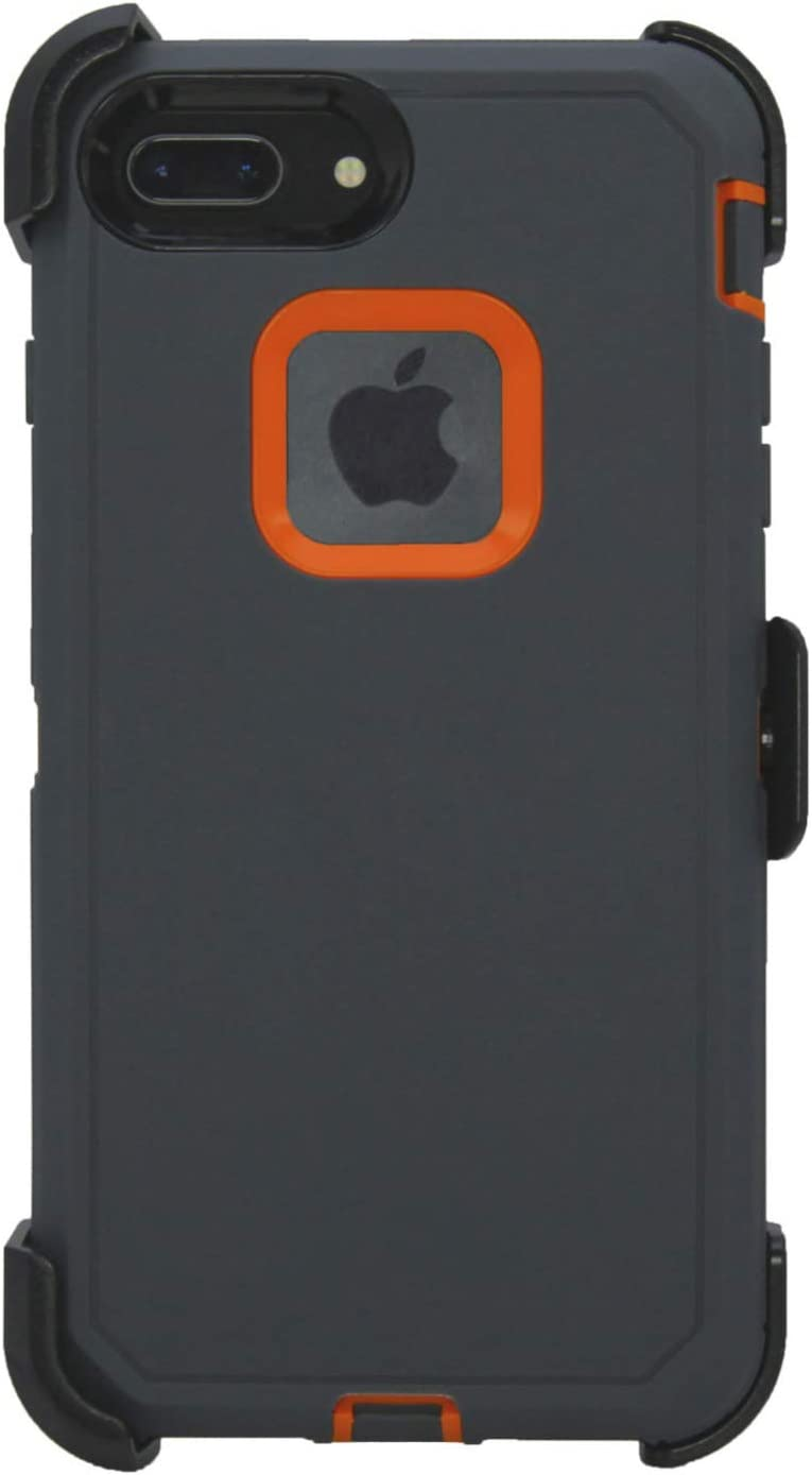 Hand-e Muscle Case for Apple iPhone 8 Plus / iPhone 7 Plus, Triple Layer Protection (Defender), Drop Proof, Hands Free Kickstand & Belt Clip – Grey/Orange