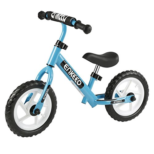 ENKEEO 12 Sport Balance Bike No Pedal Walking Bicycle with Carbon Steel Frame, Adjustable Handlebar and Seat, 110lbs Capacity for Ages 2 to 6 Years Old, Blue