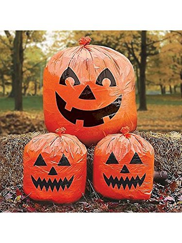 Plastic Halloween Pumpkins (Family Friendly Jack-O-Lantern Lawn Bags Halloween Trick or Treat Party Outdoor Decoration, Plastic, 30