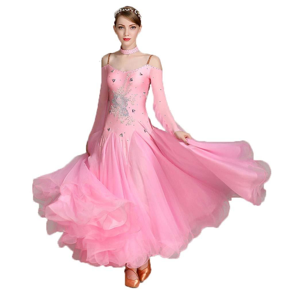 女性の長袖ホルタートップモダンダンススカート、大人用パフォーマンススーツ B07P8QVTR9 ピンク XL