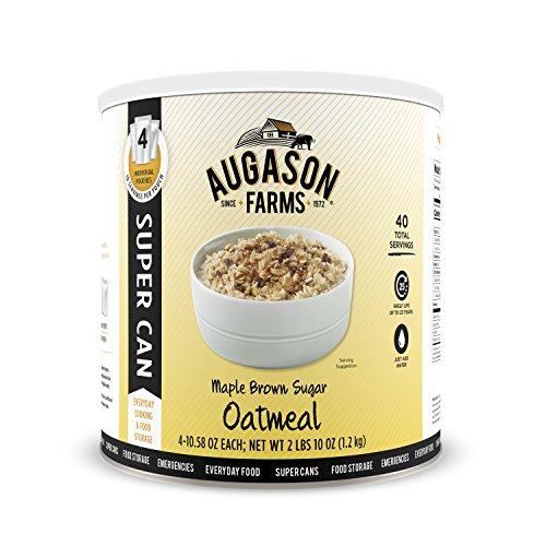 Fives Brown Sugar - Augason Farms 5-10133 Maple Brown Sugar Oatmeal Super Can Food Storage, 10 Can with 4 Individual Pouches