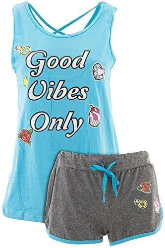 Love Loungewear Juniors Good Vibes Only Blue Shorty Pajamas M