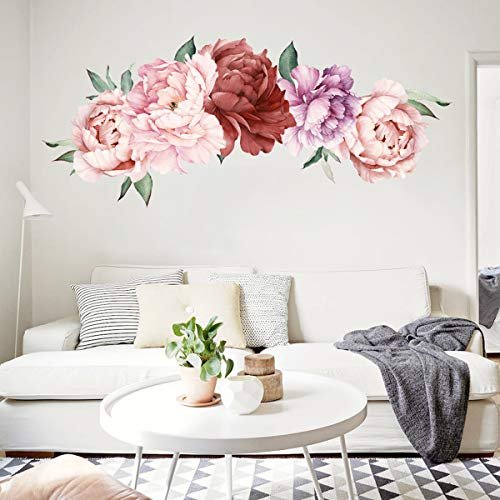 THYON Peony Flower Wall Stickers Floral Mural Home Decors Vinyl DIY Removable Peel and Stick Decorative Decals for Bedroom Living - Wallpaper Flower Print