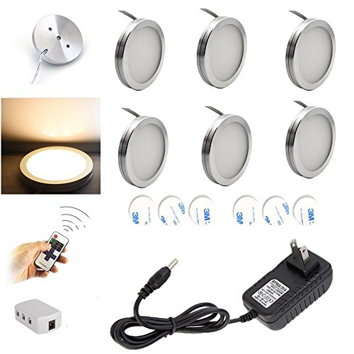 Aiboo Dimmable LED Under Cabinet Kitchen Counter Showcase Lighting Fixture with Plug In and Dimmable Wireless RF Control, 6 Ultra Slim Puck Lights Kit (Warm White)
