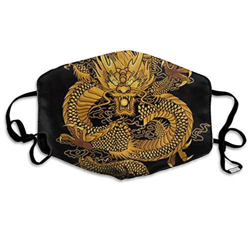 - BLongTai Mouth Cover Mask Painting Chinese Golden Dragon Fashion Anti Dust Half Face Masks