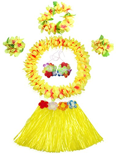 40cm Elastic Hawaiian yellow grass skirt performance costume set for (Hula Halloween Costumes)
