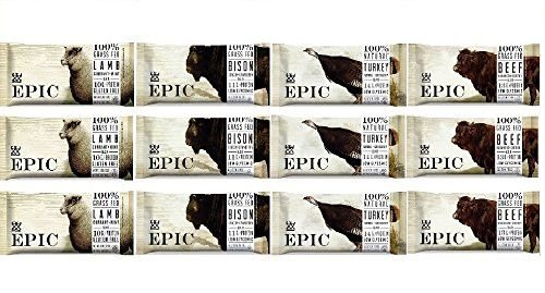 Epic Bar Super Variety -- Pack of 12 (1.5 oz bars) -- (3 Bison Bacon Cranberry, 3 Beef Habanero Cherry, 3 Lamb Currant Mint, 3 Turkey Almond Cranberry)