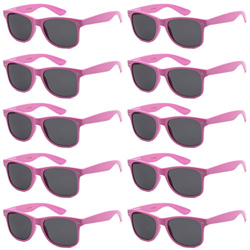 - WHOLESALE UNISEX 80'S STYLE RETRO BULK LOT SUNGLASSES (Princess Pink, Smoke)
