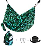 Cutequeen TRADING Single Nest Parachute Nylon Fabric Hammock With Tree straps;Color Camouflage